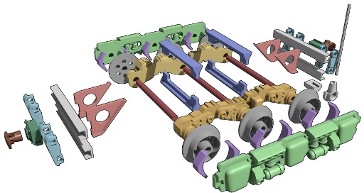 exploded view of mine trolley model