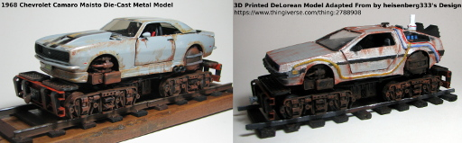 Examples of Die cast and 3D printed Car bodies