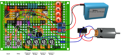 DC Motor Motion Sequence Controller Circuit Perfboard Layout