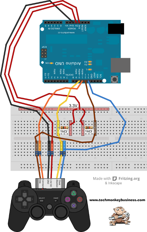 Connecting the PS2 Controller to the Arduino