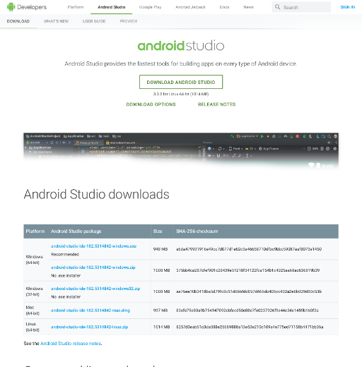Android Studio Webpage