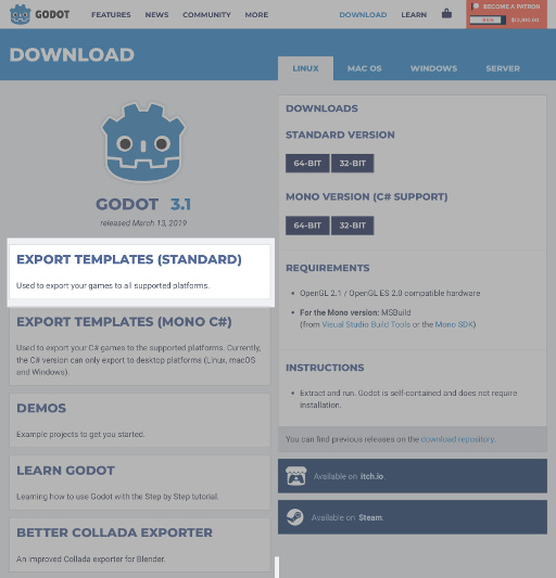 Godot 3.1 Download Page