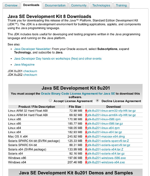 Java SDK Download Page