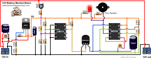 Circuit diagram of the 12V Battery Monitor