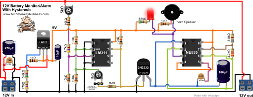 Circuit diagram of the 12V Battery Monitor with Feedback Included