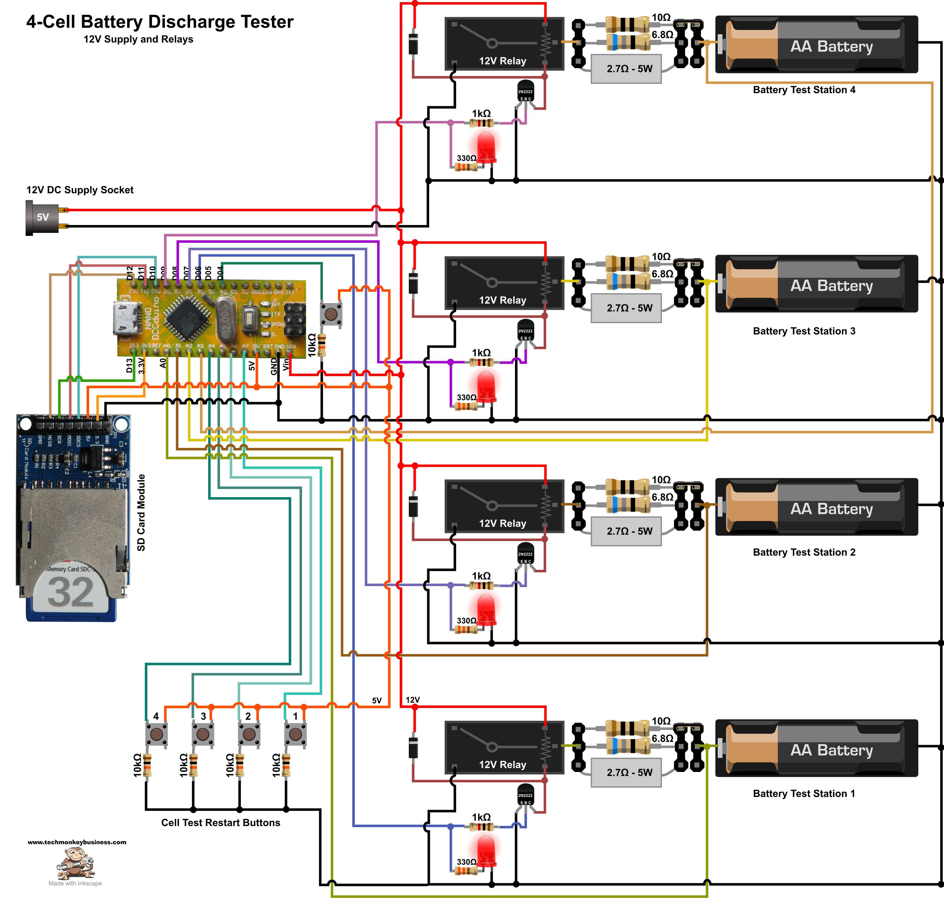 Battery Tester Schematic : Battery discharge tester