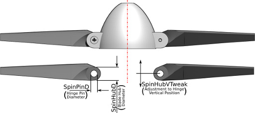 Folding Prop Parameters - Side View