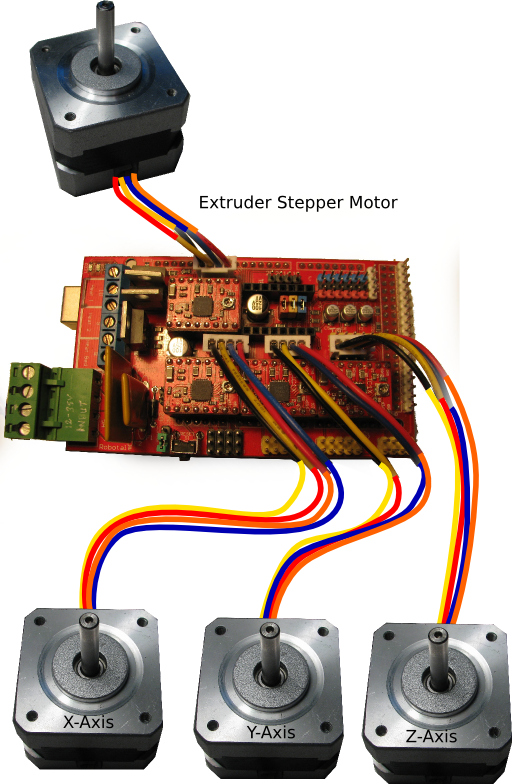 RAMPS to Da Vinci Stepper Motor Connections using 3S LiPo Battery Balance Wire Extentions