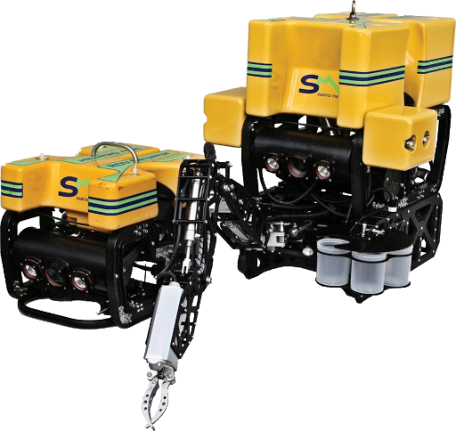 Seamor Marine ROVs - A basic model and the same model with manipulator addons.